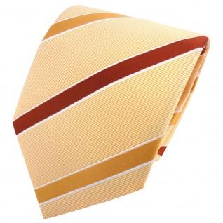 TigerTie Satin Krawatte orange pastellgelb kupfer weiß gestreift - Binder Tie