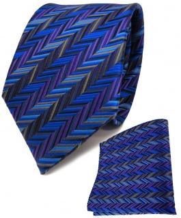 TigerTie Seidenkrawatte + Seideneinstecktuch blau lila grau anthrazit gemustert