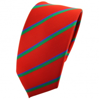 Schmale TigerTie Krawatte rot grün blau gestreift - Binder Tie Polyester