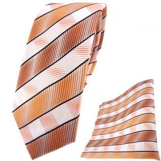 schmale TigerTie Seidenkrawatte + Einstecktuch in orange lachs weiß gestreift