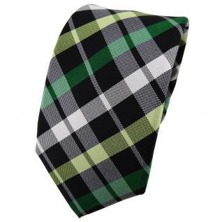 Enrico Sarto Seidenkrawatte grün schwarz silber grau kariert - Krawatte Seide