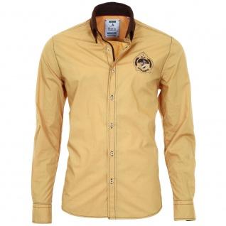 Pontto Designer Hemd Shirt in gelb ocker braun langarm Modern-Fit Gr. M