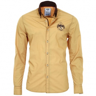 Pontto Designer Hemd Shirt in gelb ocker braun langarm Modern-Fit Gr. XL