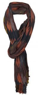 Schal in dunkelbraun orange gelb schwarz gemustert mit Fransen - Gr. 200 x 50 cm