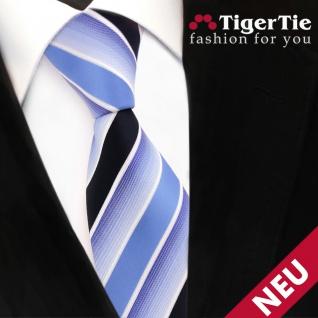 TigerTie Designer Krawatte blau hellblau dunkelblau weiß gestreift - Binder Tie - Vorschau 3