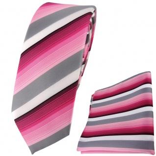 schmale TigerTie Krawatte + Einstecktuch in rosa pink grau weiss gestreift