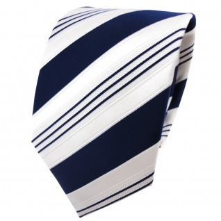 TigerTie Satin Krawatte blau dunkelblau weiß silber gestreift - Binder Schlips