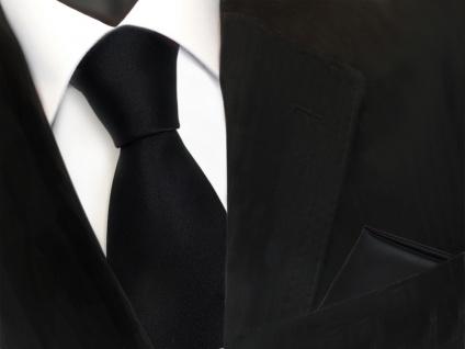 schöne TigerTie Krawatte + Einstecktuch in schwarz uni - Binder Tie Polyester