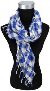 Halstuch in blau royal weiß kariert mit Fransen - Tuch Größe 100 x 100 cm