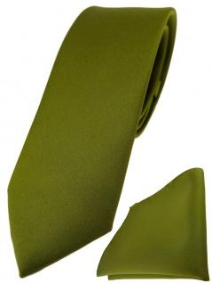 schmale TigerTie Designer Krawatte + Einstecktuch in farngrün einfarbig uni