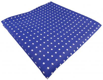TigerTie Seideneinstecktuch blau signalblau silber weiß gepunktet - 100% Seide