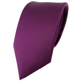 Modische TigerTie Satin Seidenkrawatte pflaume einfarbig - Krawatte 100% Seide