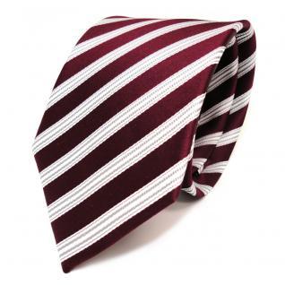 TigerTie Seidenkrawatte weinrot rot weiss silber gestreift - Krawatte Seide