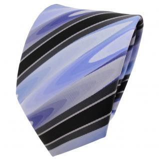 TigerTie Designer Krawatte blau schwarz silbergrau gestreift - Binder Tie