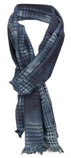 TigerTie Schal in blau marine grau schwarz mit kleinen Fransen - Gr. 180 x 50 cm