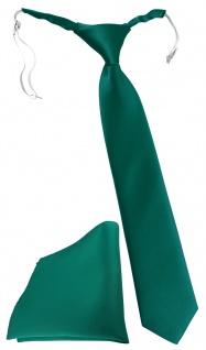 TigerTie Security Sicherheits Krawatte + Einstecktuch petrolgrün einfarbig Uni
