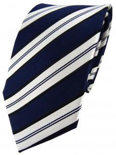 TigerTie Designer Seidenkrawatte blau dunkelblau weiß gestreift - Krawatte Seide