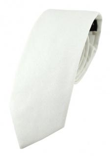TigerTie Krawatte in weiss Unicolor einfarbig - Breite 7, 5 cm - 100% Baumwolle