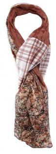 TigerTie Schal in rosarosé lachs weissgrau schwarz gemustert - 190 x 60 cm