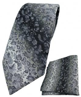 TigerTie Krawatte + Einstecktuch in grau anthrazit grausilber geblümt gemustert