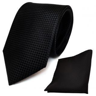 schöne TigerTie Designer Seidenkrawatte + Poly Einstecktuch in schwarz gepunktet