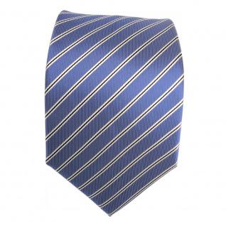 Elegante Designer Krawatte - Binder Schlips blau schwarz weiss gestreift - Tie - Vorschau 2