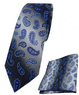 schmale TigerTie Krawatte + Einstecktuch marine royal silber Paisley gemustert