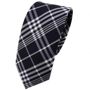 Schmale TigerTie Krawatte blau schwarzblau silber weiß kariert - Schlips Binder