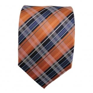 TigerTie Designer Seidenkrawatte orange blau dunkelblau weiß gestreift - Krawatte - Vorschau 2