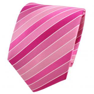 TigerTie Designer Seidenkrawatte rosa pink magenta silber gestreift - Krawatte