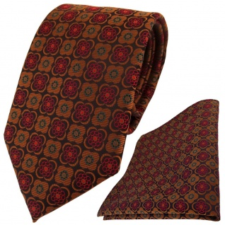 TigerTie Designer Krawatte + Einstecktuch kupfer schwarz weinrot gemustert