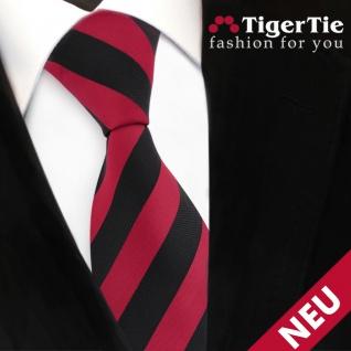 TigerTie Krawatte rot dunkelrot karminrot schwarz gestreift - Binder Schlips Tie - Vorschau 3