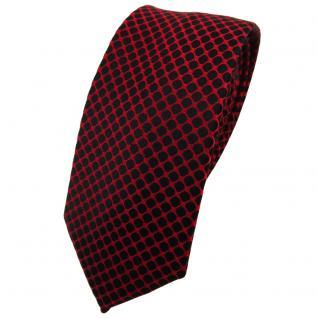 Schmale TigerTie Seidenkrawatte rot schwarz gemustert - Krawatte Seide Tie