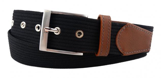TigerTie - Stoffgürtel in schwarz einfarbig - Bundweite 90 cm