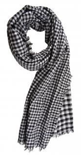 Halstuch in schwarz grauweiss kariert mit kleinen Fransen - Gr. 100 x 100 cm