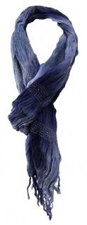 TigerTie Schal in blau dunkelblau jeansblau Silberfaden gemustert - 180 x 50 cm