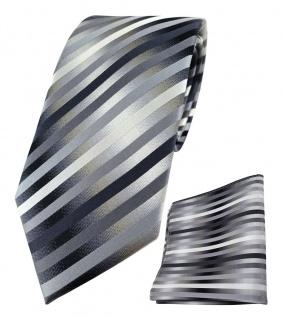 TigerTie Designer Seidenkrawatte + Einstecktuch anthrazit silber grau gestreift