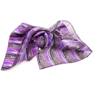 Feines Damen Satin Nickituch lila flieder schwarz gestreift- Tuch Halstuch Schal