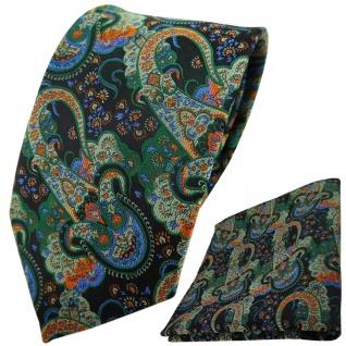 TigerTie Designer Krawatte + Einstecktuch grün dunkelgrün orange blau Paisley