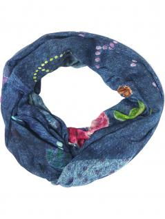 Panuelo Loop Schal dunkelblau rot türkis grün lila grau orange - Blumen, Herzen