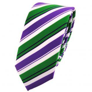 Schmale TigerTie Krawatte lila grün schwarz weiß gestreift - Schlips Binder