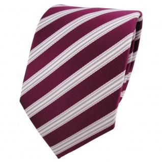 TigerTie Designer Krawatte rot beere weinrot silber weiß gestreift - Binder Tie