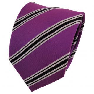 Designer Seidenkrawatte magenta fuchsia schwarz silber gestreift- Krawatte Seide