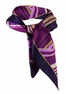 Nickituch violett lila fieder goldbraun gemustert - Gr. 50x50 cm - Tuch Halstuch