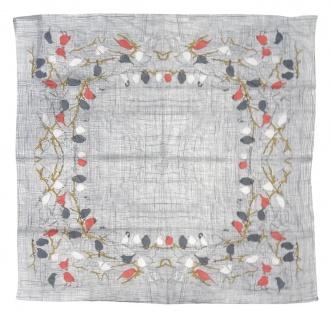 Halstuch in grau weiss rose braun mit Vogel Motiv - Tuch Größe 100 x 100 cm