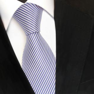 TigerTie Designer Seidenkrawatte blau fernblau weiß gestreift - Krawatte Seide - Vorschau 3