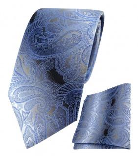 TigerTie Seidenkrawatte + Einstecktuch in blau anthrazit grau silber Paisley