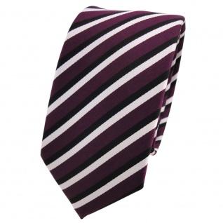 Schmale TigerTie Designer Krawatte lila violett schwarz weiß gestreift - Binder