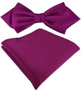 vorgebundene TigerTie Spitzfliege + Einstecktuch in magenta Uni einfarbig + Box