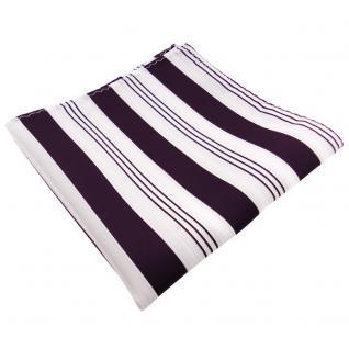 schönes Einstecktuch lila dunkellila weiß silber gestreift - Tuch 100% Polyester - Vorschau